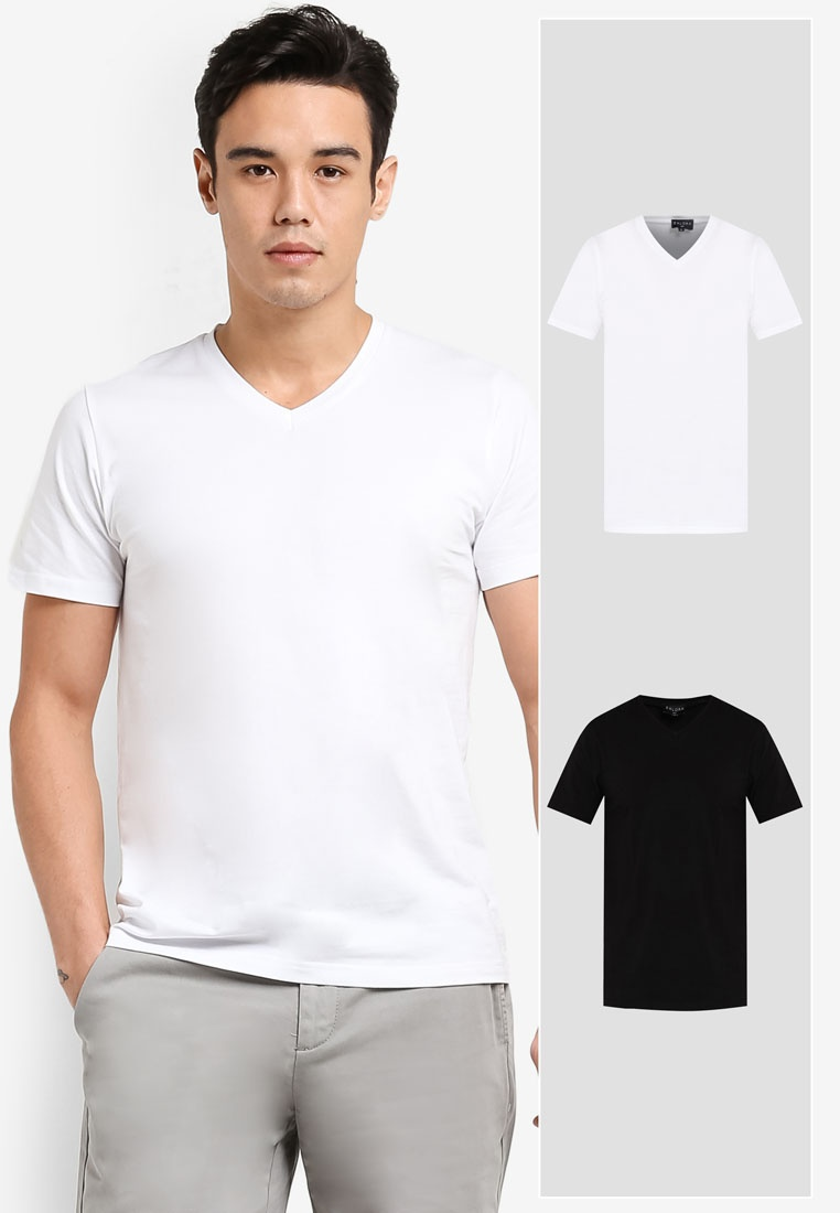 V Black ZALORA Cotton Tee Pack Neck Sleeve White 2 Short FngZxwpUnq