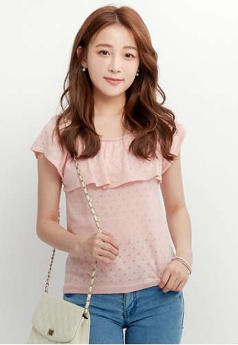 Yoco pink Ruffled Top In Patterned Knit 27116AABBD9EA9GS_1