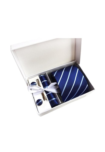 Kings Collection blue Blue Tie, Pocket Square, Cufflinks, Tie Clip 4 Pieces Gift Set (KCBT2043) EF299AC6008770GS_1