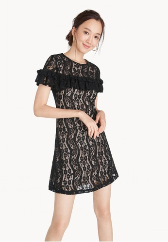 Pomelo black Mini Lace Ruffle Dress BA0C5AAABC74C5GS_1