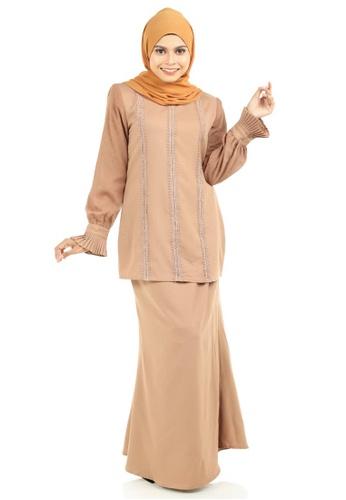 Ashura beige Syabila Kurung With Puff Sleeves and Pleated Wristband D1AD2AA3763F35GS_1