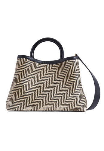 """LINGWU black and grey and white and brown and yellow and multi LINGWU Miller Rattan Saluang Murik 13"""" Shoulder Bag 2FD44ACA58CC42GS_1"""