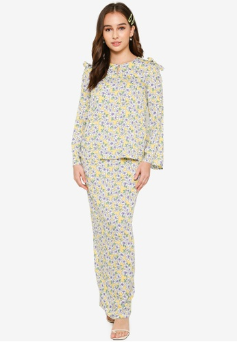 Lubna yellow and purple Shoulder Bows Kurung Set 40138AA21838D3GS_1