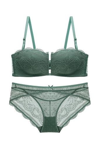 ZITIQUE green Gorgeous Lace Lingerie Set (Bra And Underwear) - Green 52CB4US6E0E5FBGS_1