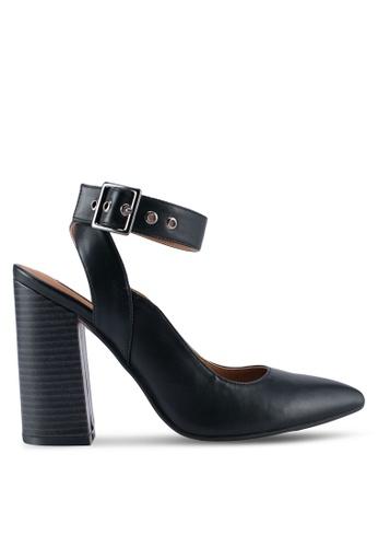ZALORA 黑色 繞踝繫帶粗跟鞋 93FD7SH291E474GS_1