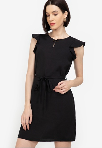 ZALORA WORK black Frill Sleeves Dress 7BBC8AA70A9D9DGS_1