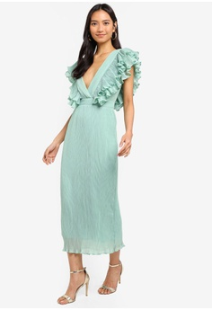 TOPSHOP Ruffle Pleated Midi Dress RM 409.00. Sizes 6 8 10 12 49e6fe252