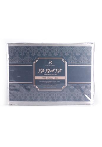 Renaissance Touch silver Bedsheet Set Queen tie up 19mm (Silver) AC616HL3D16BA7GS_1