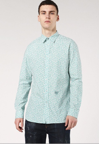 Diesel green S-Duny Long Sleeve Button-Up Shirt 6796BAA580D872GS_1