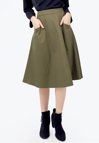 Kodz green Structured Skirt 62EEFAA83CDDA6GS_1