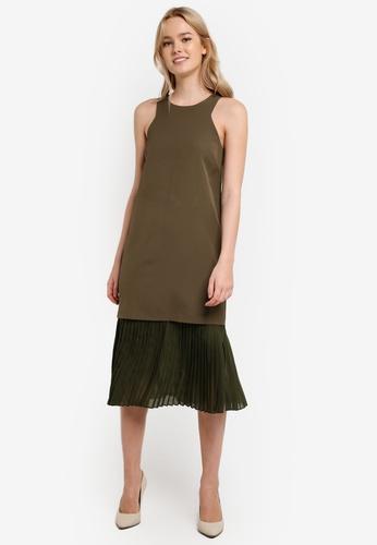 Something Borrowed green Layered Cut-in Midi Dress EB5E6AA3CB3684GS_1