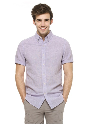 Chaps purple Chaps Linen Cotton Shirt CH325AA74ENLMY_1