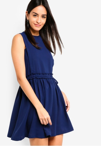 ZALORA navy Ruched Waist Dress D4165AA45E5B78GS_1