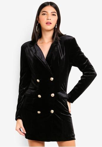 MISSGUIDED black Double Breasted Velvet Blazer Dress 8DFC6AA07DA5DBGS_1