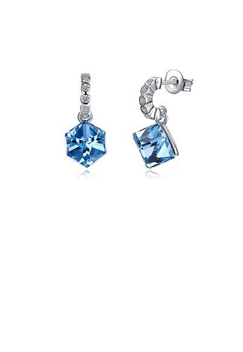 Glamorousky white 925 Sterling Silver Simple Elegant Romantic Fashion Geometric Rhombus Earrings with Blue Austrian Element Crystal C9B2DAC7BB96DEGS_1