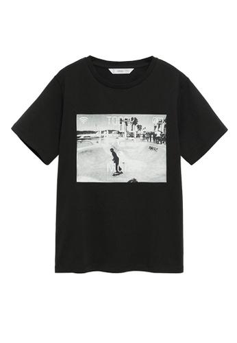 MANGO KIDS black Skater Printed T-Shirt 86CDCKA80FECE4GS_1