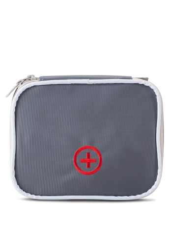 Bagstationz grey Travel First Aid Organizer Pouch BA607AC68SDRMY_1