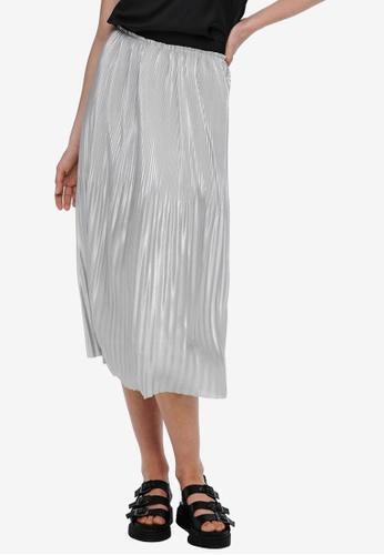 JACQUELINE DE YONG silver Stone Plisse Skirt 0D995AAD382FA7GS_1