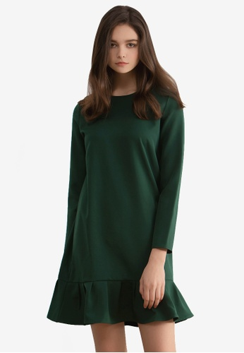 Kodz green Frill Hem Shift Dress 8F5E5AAADEE573GS_1