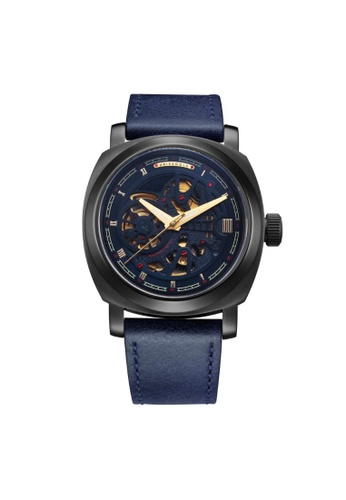 Aries Gold blue Aries Gold Vanguard G 9025 BK-BUG Black and Blue Leather Watch AFB46AC391AC5AGS_1