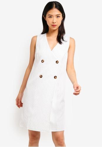 ZALORA BASICS white Basic Double Breasted Dress 8ADCEAA9071AE4GS_1