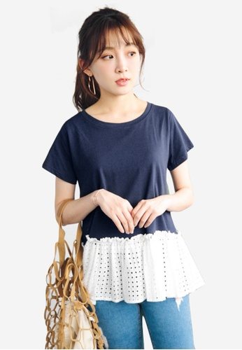 Sesura navy Simple Beauty Cotton Tee 25229AA0128296GS_1