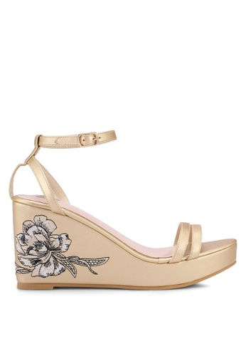 Velvet gold Floral Embroidery Wedges C8D8BSH6C62994GS_1