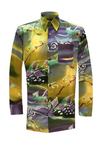 Pacolino green Long Sleeve Printed Batik Shirt PA995AA85CKCMY_1