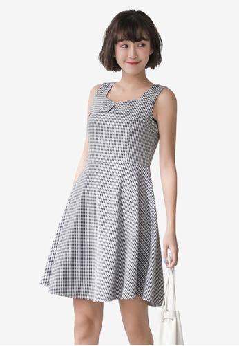 Tokichoi navy Sleeveless Plaid A-Line Dress 8EC8AAA043FF92GS_1