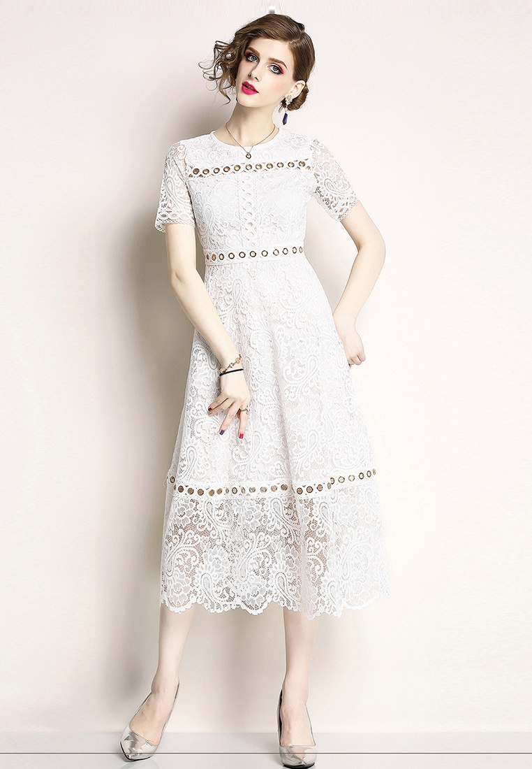 Piece Lace One White Dress Sunnydaysweety white A060815W 2018 New BqT4fB