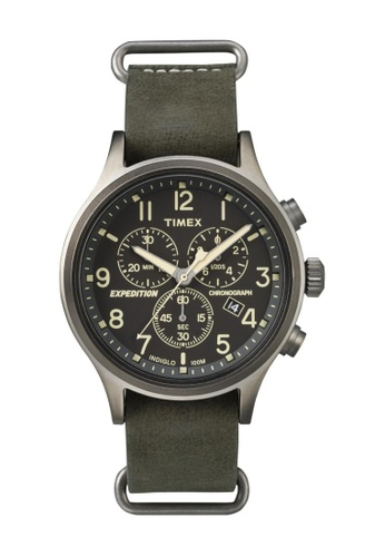TIMEX green Timex Expedition® Scout - Chrono Green Genuine Leather Strap Watch TI857AC75COISG_1