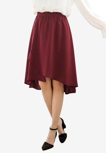 Tokichoi red Chiffon Hi-Low Skirt 809AAAA861818FGS_1