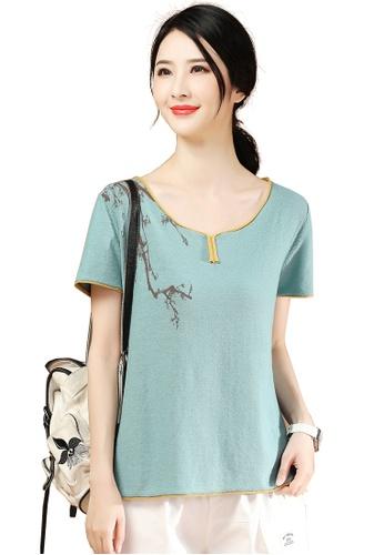 A-IN GIRLS blue Fashion Print Round Neck Sweater 43816AA69ECDE0GS_1