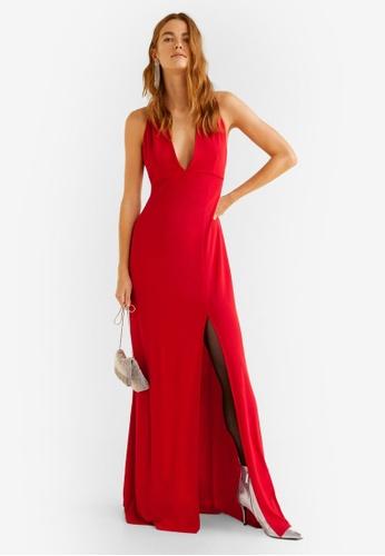 Mango red Slit Long Dress 7248EAA0F316ECGS_1