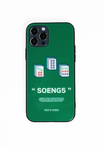 House of Avenues green Mahjong Pattern Tempered Glass Shell Phone Case For iPhone 12 Pro 93758ACA2DB997GS_1