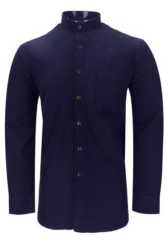 Pacolino purple Pacolino - Mandarin Collar Striped Formal Casual Long Sleeve Men Shirt D3DFCAA7D63755GS_1