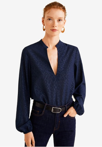 Mango blue and navy Jacquard Flowy Blouse 489B7AAAB3DCE6GS_1