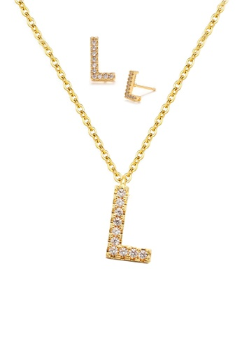 """Atrireal gold ÁTRIREAL - Initial """"L"""" Necklace + Earrings Jewellery Set in Gold 5B17CAC32DC4C9GS_1"""