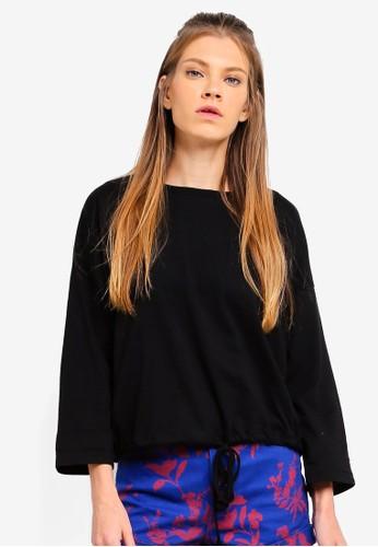 Cotton On black Zoey Drawstring Waist Long Sleeve Top 0332CAAC8AFA26GS_1