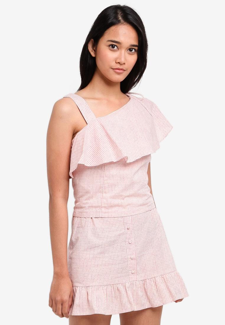 Drawstring Pink with Ruffle Asymmetric Borrowed Something Gingham Top XnqSIYTw