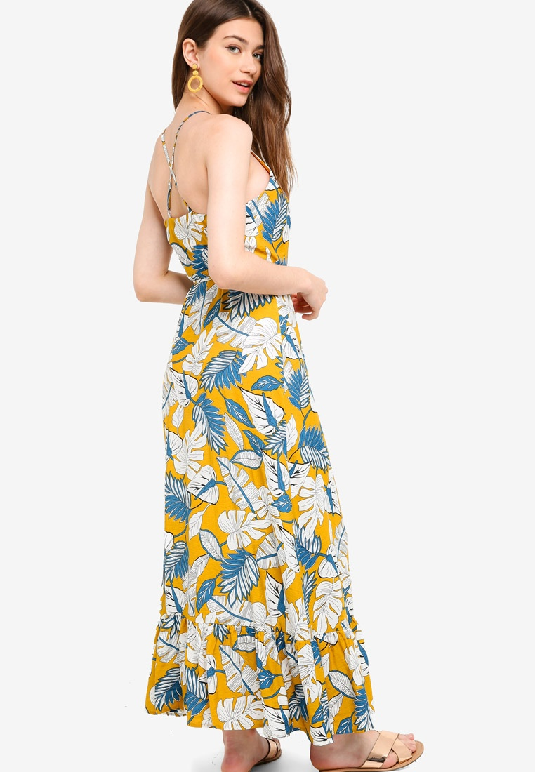 Based Borrowed Tropical Print Something Wrap Dress Mustard Maxi Camisole IqY4SY1