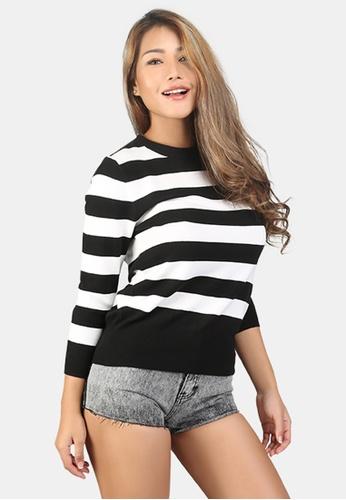 London Rag white Fine Knit Striped Sweater 7F651AAE406025GS_1