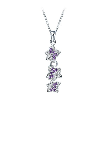 Glamorousky purple Elegant Flower Pendant with Purple Austrian Element Crystal and Necklace 3CF72ACB1D4980GS_1
