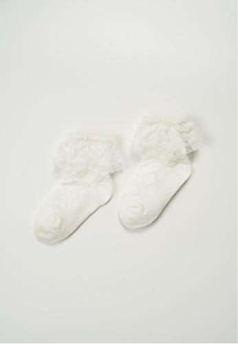 Treehouse beige Lace Ankle Socks 9A49CKAC190014GS_1