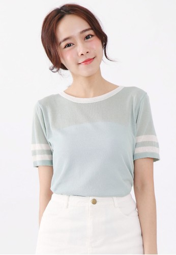 Tokichoi green Striped Cuffs Top E0EEDAA6AD4B9AGS_1