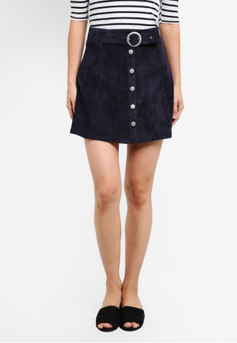 ZALORA navy A-Line Skirt With Button Front FCA85AAD6022DFGS_1