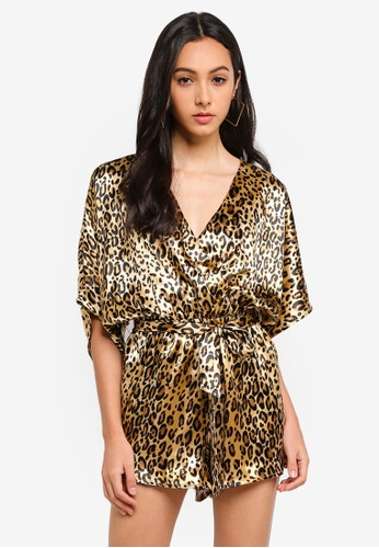 Supre brown and multi Pearl Wrap Front Playsuit F3D4CAAB55CDD8GS_1