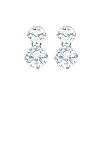 Glamorousky silver Gleaming Earrings with Silver Austrian Element Crystals DB193AC816F29DGS_1