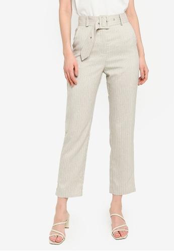 ZALORA WORK beige Belted Tailored Pants ABC7DAA1CB1220GS_1