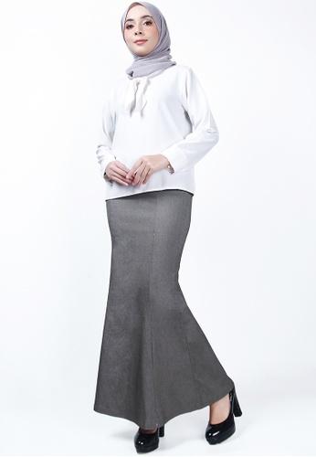 Ladies Jeans grey Executive Long Skirt 91242AAC3605D6GS_1